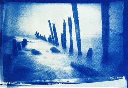 'Spurn Point' 2016. Cyanotype. 18 x 13cm.