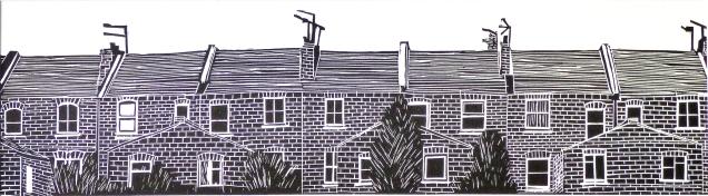 'Terrace'. Lino Print.