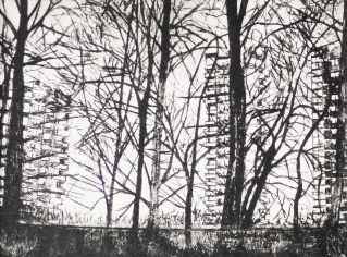 'Flats and Trees'. Etching.