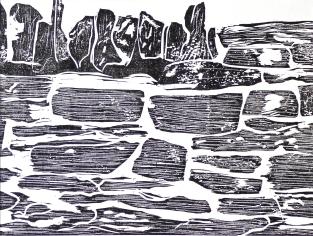 'Drystone Wall'. Lino print.