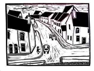 'City walls, Bishophill' 2015. Woodcut. 29.5 x 22 cm.