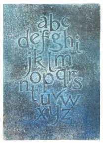 'Alphabet' (Blue). Relief print. 25 x 34 cm.