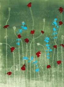 'Poppies 3'. Monoprint. 30 x 35 cm.
