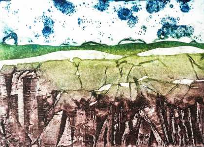 'North Yorkshire Moors' 2016. Collagraph. Edition of 15