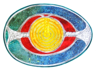 'Diagram of an egg'. Collagraph. 52 x 40cm.