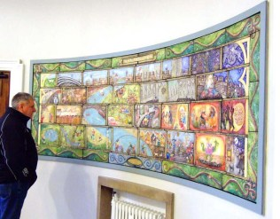 'York Panorama' 2015. Coloured cast plaster. 3.5 x 1m. Public art installation at York Library and Archives. Museum St, York.