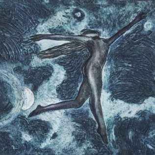 'Water Dancer II, Newby Hall.' Varied Edition of 6. Collagraph. 23 x 23cm.