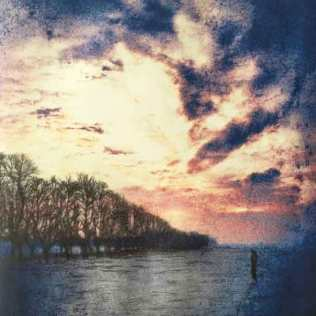 'Winter Sunrise, York Knavesmire'. Edition of 6. Drypoint Etching with digital chine collé. 20 x 20cm.