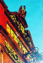 'Fossgate former glory'. Screen print. 20 x 30cm.