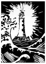 'The Lighthouse'. Lino Print. 15 x 20cm.