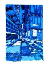 'The Shambles at night'. 3 colour reduction lino print. 20 x 30cm.