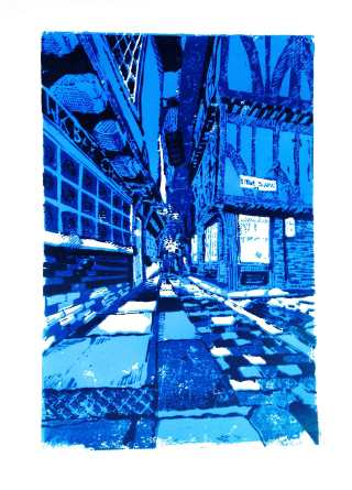 'The Shambles at night'. 3 colour reduction lino print. 20 x 30cm.