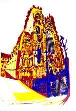 'York Minster'. 3 colour reduction Lino Print. 20 x 30cm.