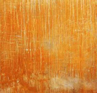 Rust print on silk. 106 x 120cm.