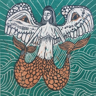 'Winged Siren' Lino cut. Edition of 20. 22.5 x 25cm