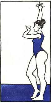'Gymnast Rehearsing' 2016. Series of 40. Lino print. 26.5 x 48.5cm.
