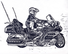 'Honda Goldwing Motorbike' 2016. Edition of 4. Lino print. 23 x 18cm.