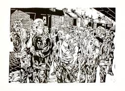 'York city FC crowd.' Lino print. 36.34cm x 27.27cm.