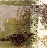 'Angel of east window and blackbird'. Lino Cut. 30 x 20 cm. Edition of 1.