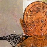 'East Window Angel and Blackbird'. Lino cut Monoprint. 30 x20 cm. Edition of 1
