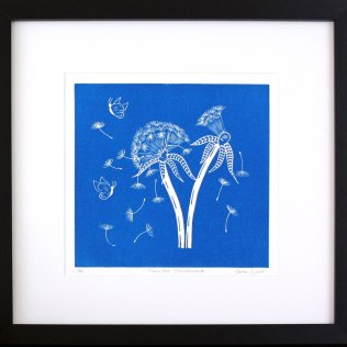 'Twilight Dandelions. Linocut. Edition of 20. 20 x 20 cm