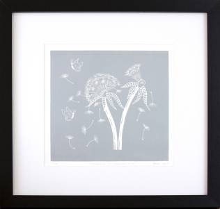 'Twilight Dandelions. Linocut. Edition of 20. 20 x 20 cm