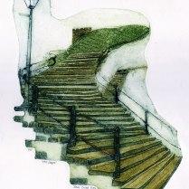 '199 Steps'. Collagraph. 21 x 28 cm.