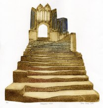 'Cathedral Steps'. Collagraph. 26 x 27 cm.