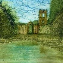 'Fountains Abbey'. Collagraph. 30 x 30 cm.