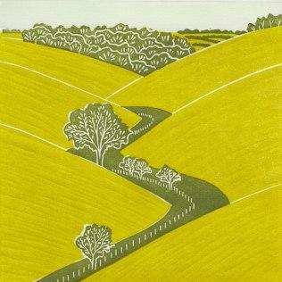 'Fridaythorpe' Yorkshire Wolds. Linocut. Edition of 60. 19 x 19 cm.