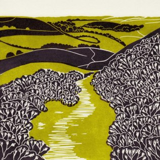 'Hole Of Horcum'. Lino Cut. Edition of 60. 19 x 19 cm.