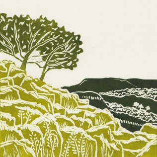 'Yorkshire Dales'. Lino Cut. Edition of 60. 19 x19 cm.
