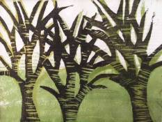 'Trees' Japanese Woodcut.