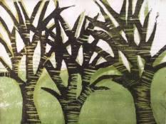 'Trees' Japanese Woodcut.