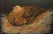 'On The Nest' Hand coloured Linocut. 30 X 20 cm
