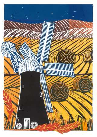 'Windmill In The Field' Linocut Collage. 20 x 30 cm