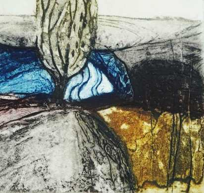 'Field Tree' Collagraph. Edition of 5. 20 x 19 cm