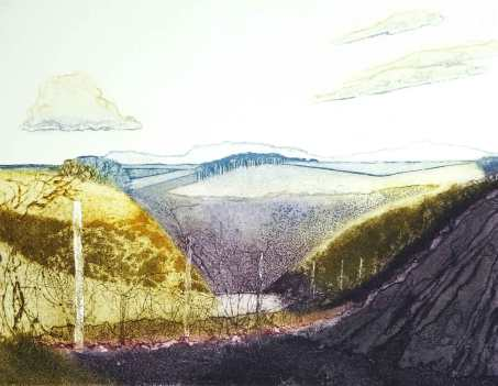 'New Hedge' Collagraph. Edition of 9. 57.5 x 46 cm