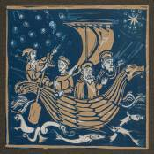 'Three Wise Men (at sea)' Lino cut. A/P 13.5 x 13.5 cm.