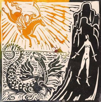 'Ruggiero rescuing Angelica from the Sea Orc'. Lino cut. A/P. 13 x 13 cm.