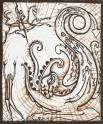'St. George And The Dragon 2' Lino-cut. A/P. 16.5 x 13.5 cm.
