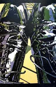 'Jane's Shoes' (2018) 4 colour reduction lino print. 20cm x 25cm