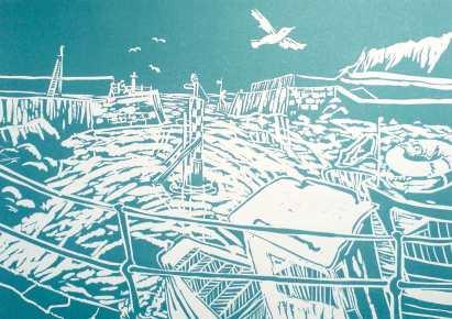 'Eyemouth Harbour' Lino Print. 30 x 19.5 cm