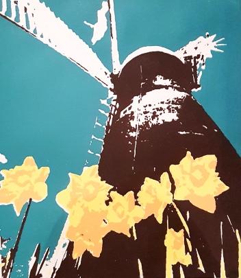 'Windmill' Lino Print.