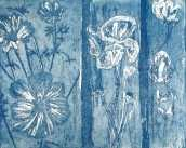 'Floral Triptych' Etching. Floral Triptych is 36 X 35cm framed.