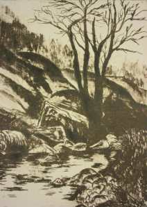 'Moorland Stream' Photolitho Etching. 31 x 38cm framed.
