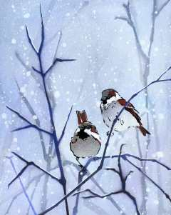 'Winter Sparrows'. Stencilled birds on mixed media.
