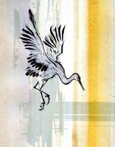 'Dancing Crane V'. Screen print on painted background.