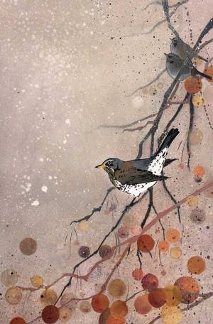 'Fieldfares in Crabapple'. Stencilled birds on mixed media.
