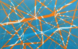 'Network' (2018). (blue orange) Lino Print. 20 x 15cm. Variable edition